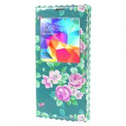 """""""Flowers"""" atvērams maciņš - piparmētru (Galaxy S5 / S5 Neo)"""