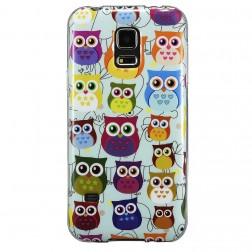 """Owls"" cieta silikona (TPU) apvalks - krāsains (Galaxy S5 / S5 Neo)"