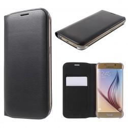 """""""Smart Wallet"""" atvēramais ādas maciņš - melns (Galaxy S6 Edge)"""