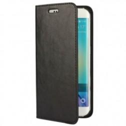 """""""Faux Leather"""" solīds atvēramais ādas maciņš - melns (Galaxy S6 Edge)"""