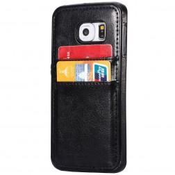 """Luxury"" Leather ādas apvalks - melns (Galaxy S6 Edge+)"