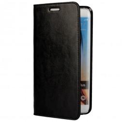 """""""Faux Leather"""" solīds atvēramais ādas maciņš - melns (Galaxy S6 Edge+)"""