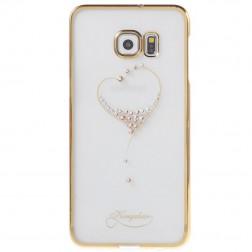 """Kingxbar"" Love Swarovski apvalks - zelta (Galaxy S6 Edge+)"