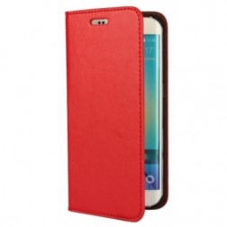 """""""Faux Leather"""" solīds atvēramais ādas maciņš - sarkans (Galaxy S6 Edge)"""