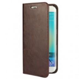 """""""Faux Leather"""" solīds atvēramais ādas maciņš - tumši brūns (Galaxy S6 Edge)"""