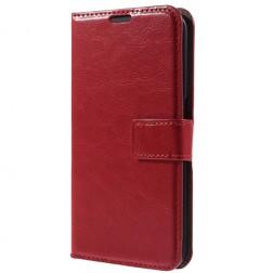 Atvēramais ādas maciņš - sarkans (Galaxy S6)