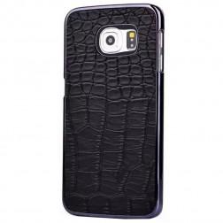 Telefona apvalks ar krokodila ādas imitāciju - melns (Galaxy S6)