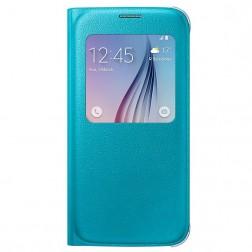 """""""Samsung"""" S View Cover atvērams maciņš - gaiši zils (Galaxy S6)"""