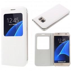 Atvēramais maciņš ar lodziņu - balts (Galaxy S7)