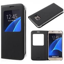 Atvēramais maciņš ar lodziņu - melns (Galaxy S7)
