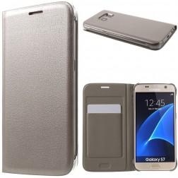 """""""Smart Wallet"""" atvēramais ādas maciņš - zelta (Galaxy S7)"""