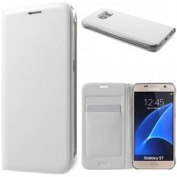 """""""Smart Wallet"""" atvēramais ādas maciņš - balts (Galaxy S7)"""