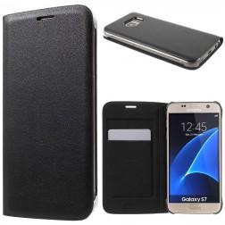 """""""Smart Wallet"""" atvēramais ādas maciņš - melns (Galaxy S7)"""