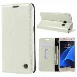 """""""CaseMe"""" solīds atvēramais ādas maciņš - balts (Galaxy S7)"""