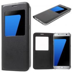 Atvēramais maciņš ar lodziņu - melns (Galaxy S7 Edge)
