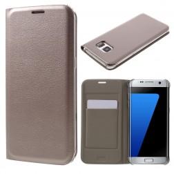 """""""Smart Wallet"""" atvēramais ādas maciņš - zelta (Galaxy S7 Edge)"""