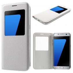 Atvēramais maciņš ar lodziņu - balts (Galaxy S7 Edge)