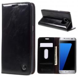 """""""CaseMe"""" solīds atvēramais ādas maciņš - melns (Galaxy S7 Edge)"""