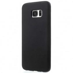 Cieta silikona (TPU) matēts apvalks - melns (Galaxy S7 edge)