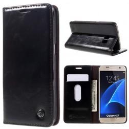 """""""CaseMe"""" solīds atvēramais ādas maciņš - melns (Galaxy S7)"""