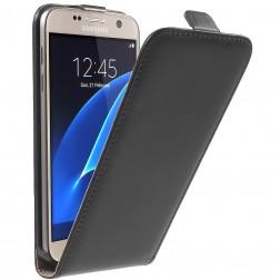 Klasisks atvēramais maciņš - melns (Galaxy S7)
