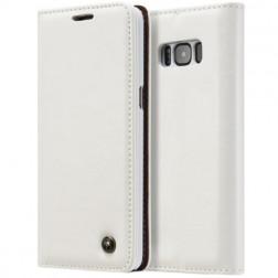 """""""CaseMe"""" solīds atvēramais ādas maciņš - balts (Galaxy S8+)"""