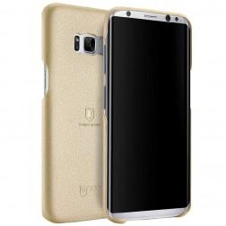 """Lenuo"" Soft Slim ādas apvalks - zelta (Galaxy S8)"