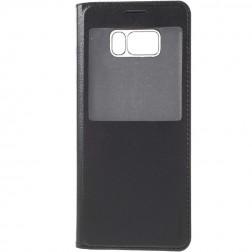 Atvēramais maciņš ar lodziņu - melns (Galaxy S8)