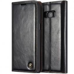 """""""CaseMe"""" solīds atvēramais ādas maciņš - melns (Galaxy S8+)"""