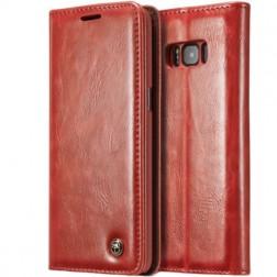 """""""CaseMe"""" solīds atvēramais ādas maciņš - sarkans (Galaxy S8+)"""