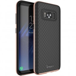 """IPAKY"" cieta silikona (TPU) apvalks - melns / rozs (Galaxy S8+)"