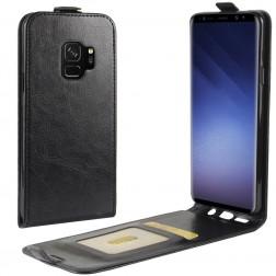 Klasisks ādas vertikāli atvēramais maciņš - melns (Galaxy S9)