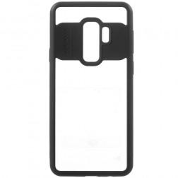 """""""FOCUS"""" apvalks - dzidrs apmales melnā krāsā (Galaxy S9+)"""