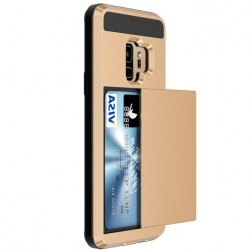 """Sliding"" Card Holder apvalks - zelta (Galaxy S9)"