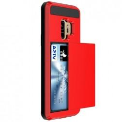 """Sliding"" Card Holder apvalks - sarkans (Galaxy S9)"