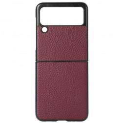 """Deluxe Leather"" apvalks - bordo (Galaxy Z Flip3)"