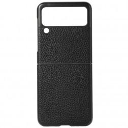 """Deluxe Leather"" apvalks - melns (Galaxy Z Flip3)"