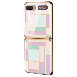 """""""GKK"""" Pattern plastmasas apvalks - violeta (Galaxy Z Flip)"""