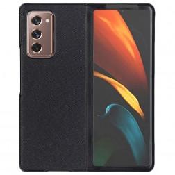 """Foldable Leather"" apvalks - melns (Galaxy Z Fold2)"