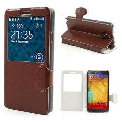 """""""Crazy Horse"""" atvēramais """"S-View"""" stila futrālis - brūns (Galaxy Note 3)"""