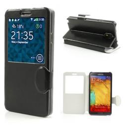 """Crazy Horse"" atvēramais ""S-View"" stila futrālis - melns (Galaxy Note 3)"