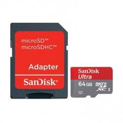 """SanDisk"" MicroSD atmiņas karte - 64 Gb (10 Klase) + SD adapteris"