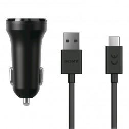 """Sony"" Dual USB autolādētājs - melns + Type-C USB vads (5V/2.4A, 5V/2.4A)"
