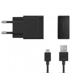 """Sony"" Quick Charger sienas lādētājs (1.5 A) - melns + micro USB vads"