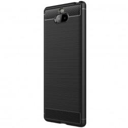 """""""Carbon"""" cieta silikona (TPU) apvalks - melns (Xperia 10 Plus)"""