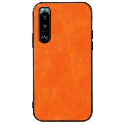 """Deluxe Leather"" ādas apvalks - oranžs (Xperia 5 III)"
