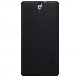 """Nillkin"" Frosted Shield apvalks - melns + ekrāna aizsargplēve (Xperia C5 Ultra)"