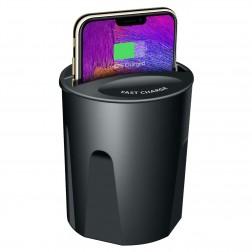 """""""Fast"""" Wireless Charging automašīnas telefona lādētājs (turētājs) - melns"""
