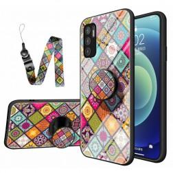 """""""Pattern"""" cieta silikona (TPU) apvalks - krāsains + telefona virviņa + turētājs (Poco M3 Pro / Redmi Note 10 5G)"""