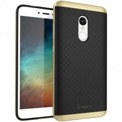 """""""IPAKY"""" cieta silikona (TPU) apvalks - melns / zelta (Redmi Note 4X)"""